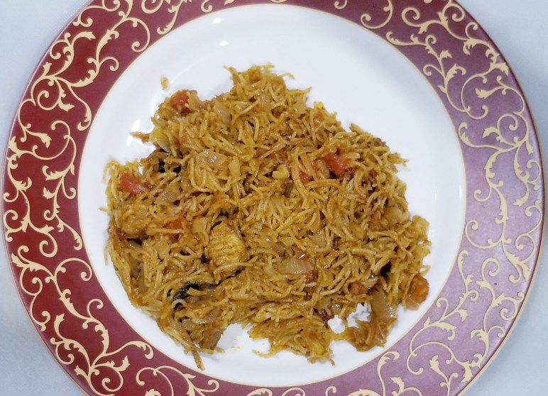 Vermicelli Chicken upma is ready to serve hot.