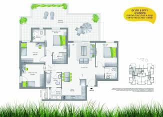 דירת 5 חדרים, קומה 1 מעל הכניסה העליונה
