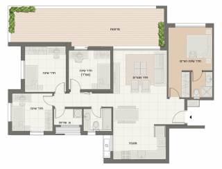 דירת 5 חדרים מרפסת מוגדלת דגם A