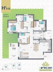 דונה בחריש 2 | דירת גן 5 חדרים דגם H'5-G
