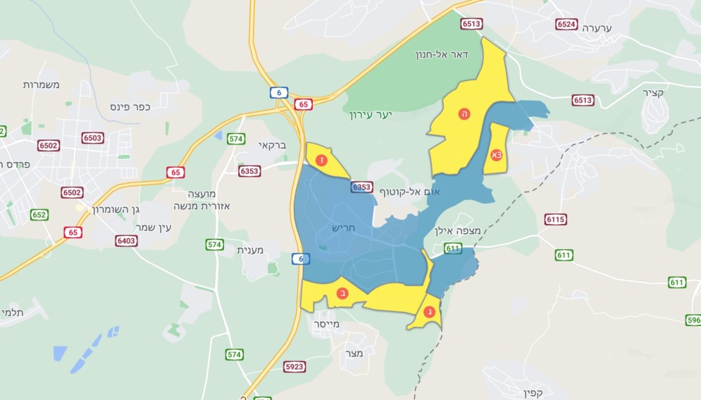 מפת הרחבת שטח השיפוט של חריש לפי המלצות הוועדה הגיאוגרפית