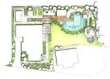 Grundriss Saunagarten mit Schwimmteich und Nutzbeeten