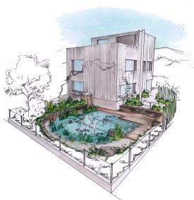 Visualisierung von Haus und Familienschwimmteich