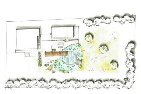 Der Badegarten als Grundriss-Visualisierung