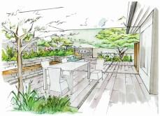 Visualisierung des Kernstücks vom Terrassengarten mit grosszügigem Sitzplatz