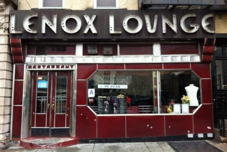 General views of Lenox Lounge before and after the facade was stripped of its Art Deco details and sign located at 288 Lenox Avenue in Harlem in New York City