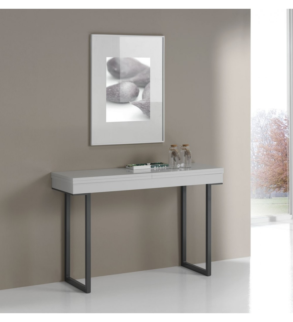 table console extensible quattro pieds metal