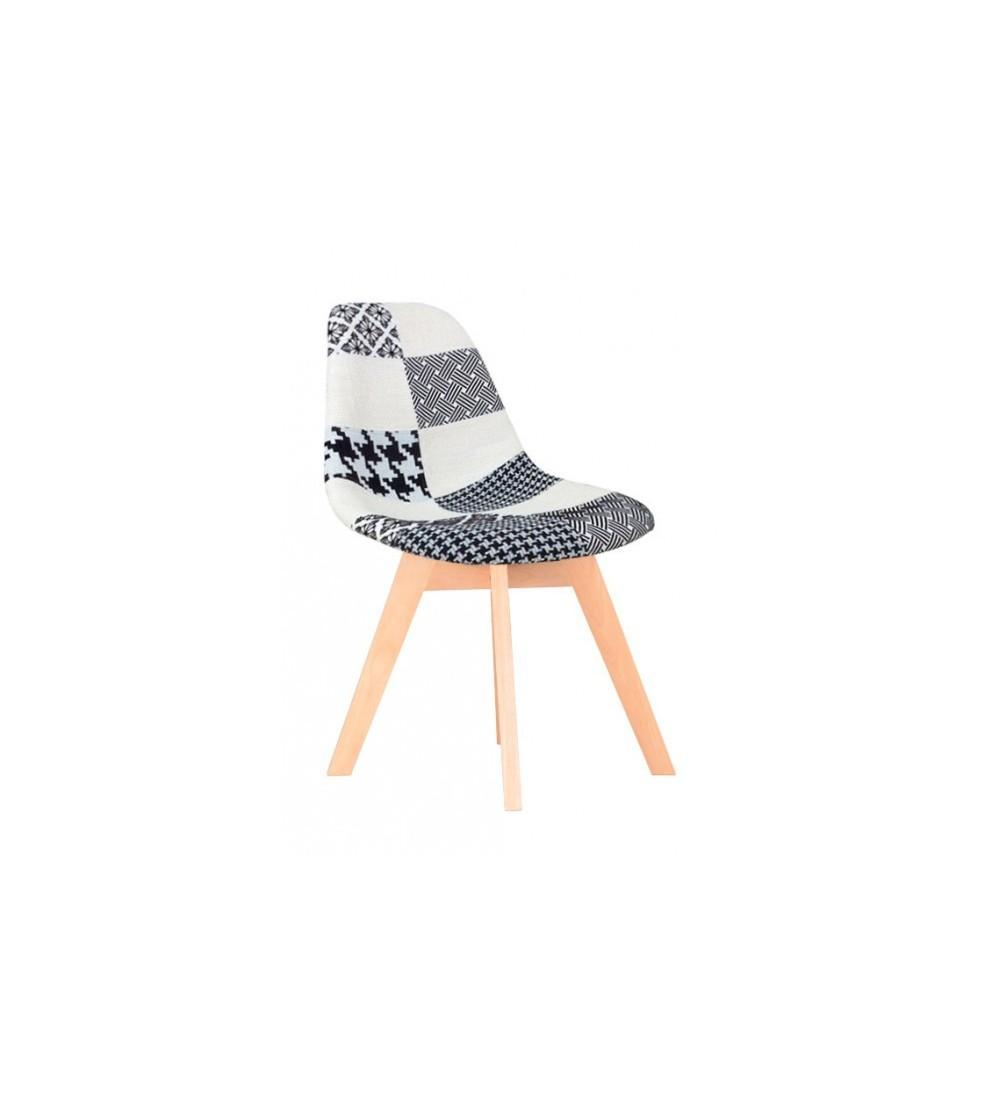 chaise scandinave tissu patchwork blanc et noir