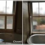 Harmony Blinds Ltd Cafe Style Pvc Shutter In A Bathroom