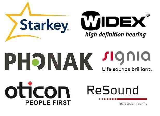 Logo's of the leading hearing aid brands