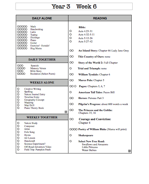 Year Three Weekly Schedule