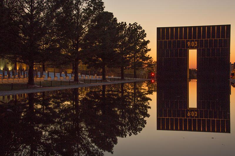 Reflection pool at Oklahoma City National Memorial