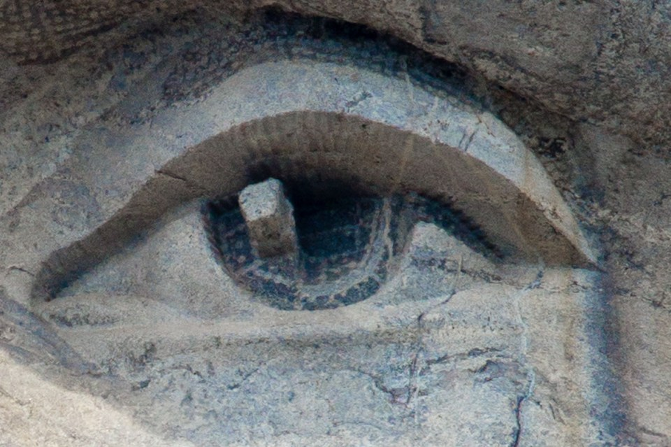 Close up of Abe's eye, showing how the eyes have a sparkle to them.
