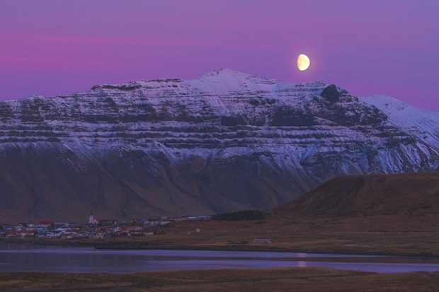 Moonrise over Grundarfjordur
