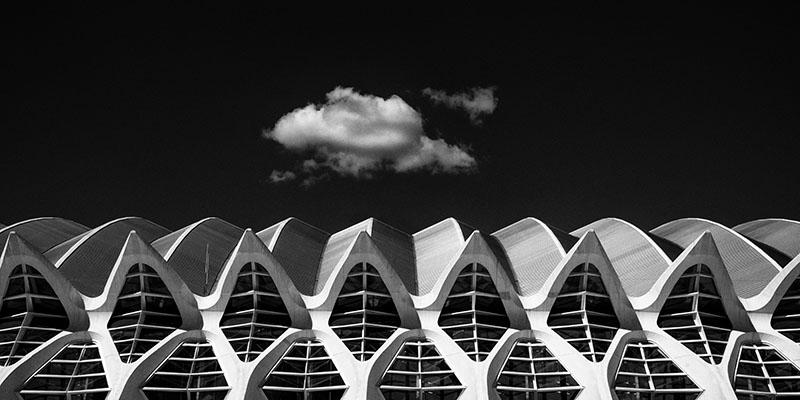 Lone Cloud at the Santiago Calatrava designed City of Arts and Sciences complex