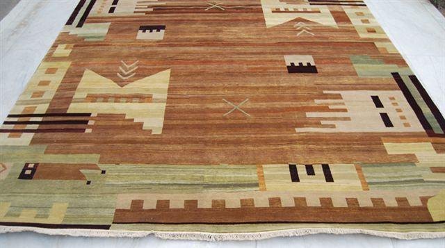 Kashkuli 11 X 14 Brown Handmade Area Rug New Geometric