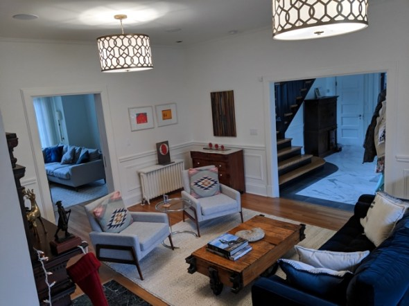 Living Room with Views to Refurbished Foyer, and Expanded Family Room