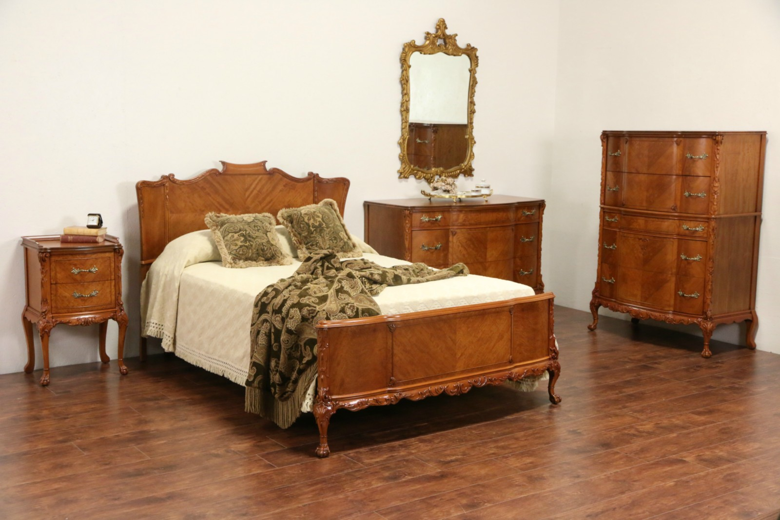 SOLD French Style 1940s Satinwood Full Size 1940s