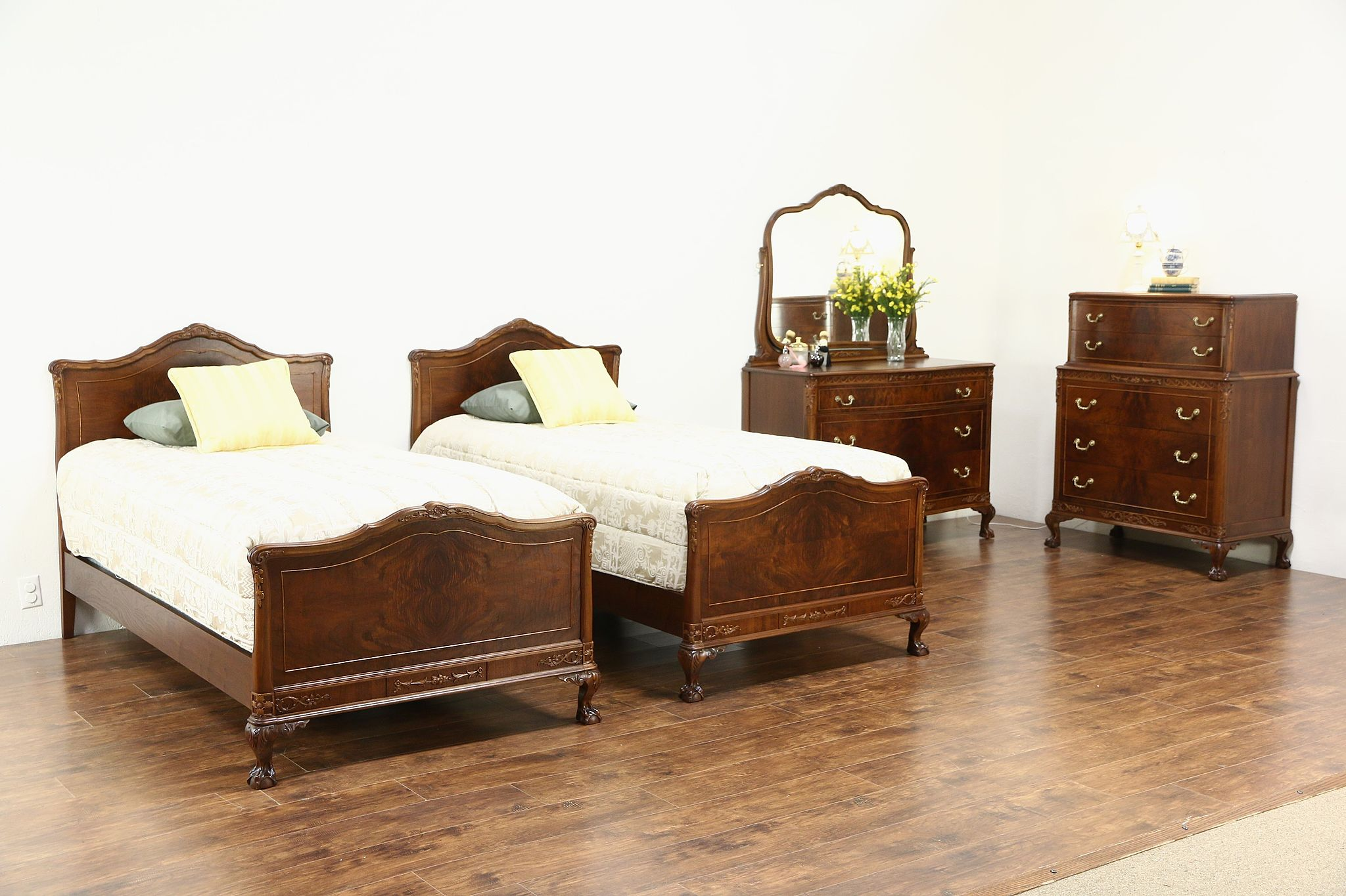 SOLD Carved Walnut Amp Burl 1920s Antique 4 Pc Bedroom