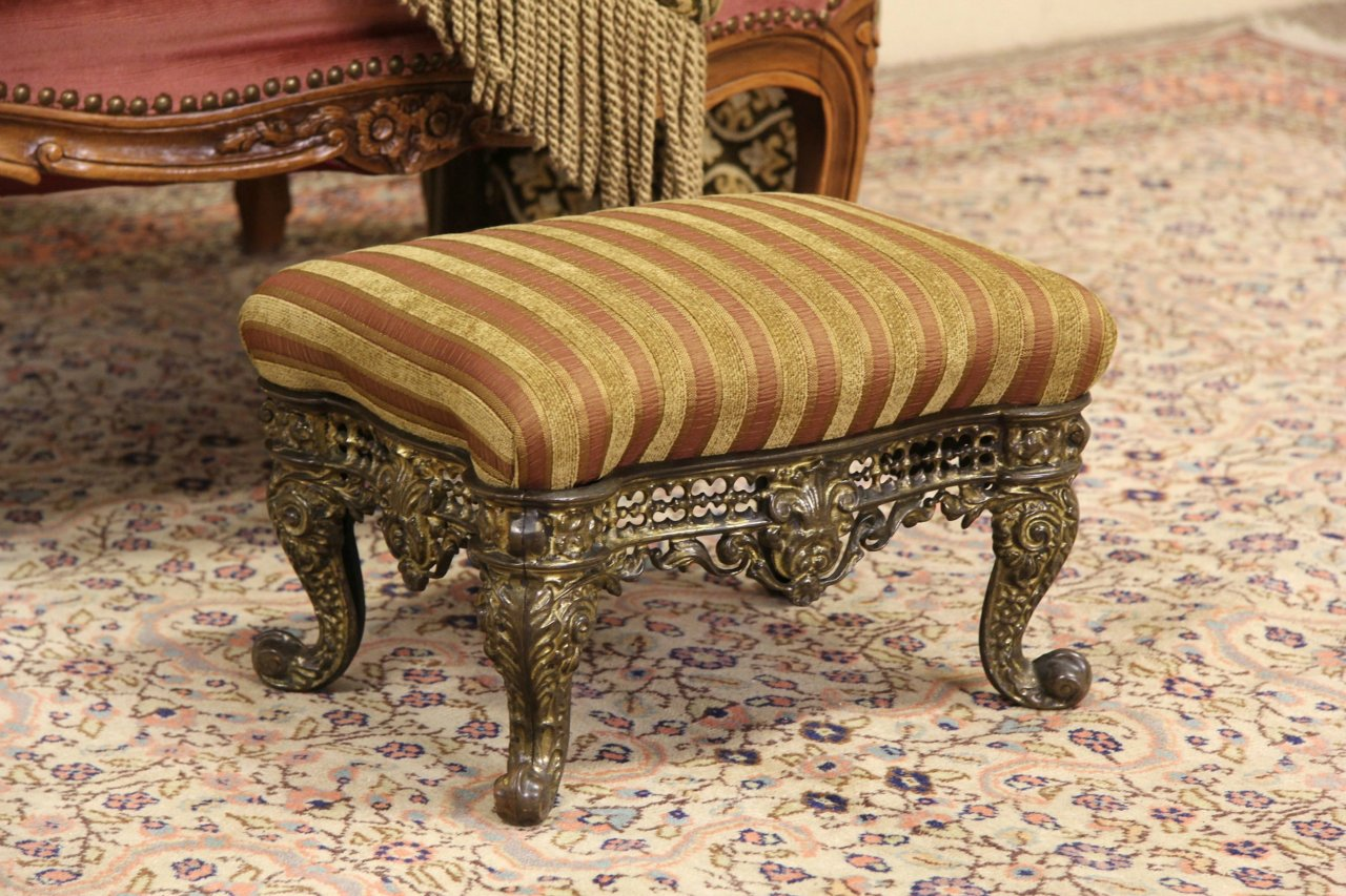 SOLD Victorian Cast Brass 1870 Antique Footstool New