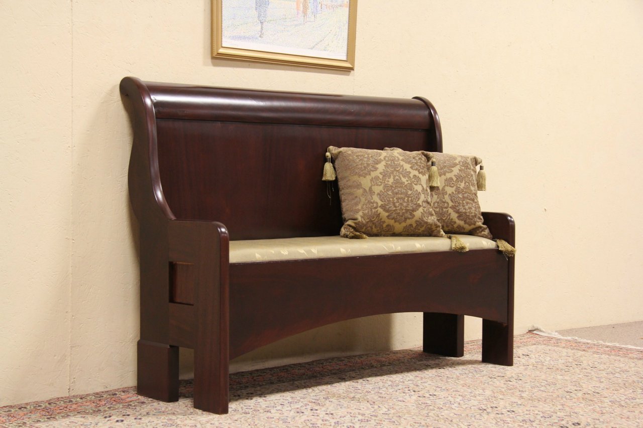SOLD Bench Made From 1890 Mahogany Antique Sleigh Bed
