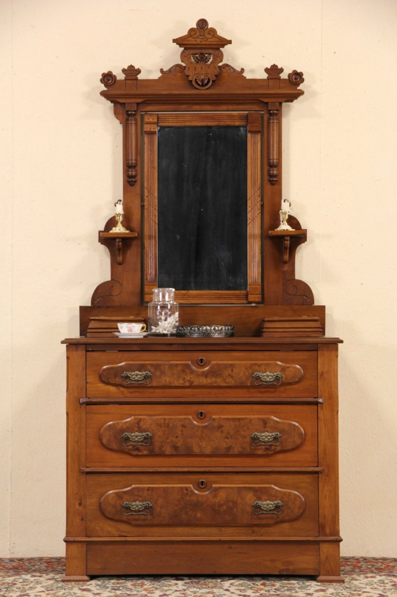 SOLD Victorian Eastlake 1880 Antique Walnut Dresser Or
