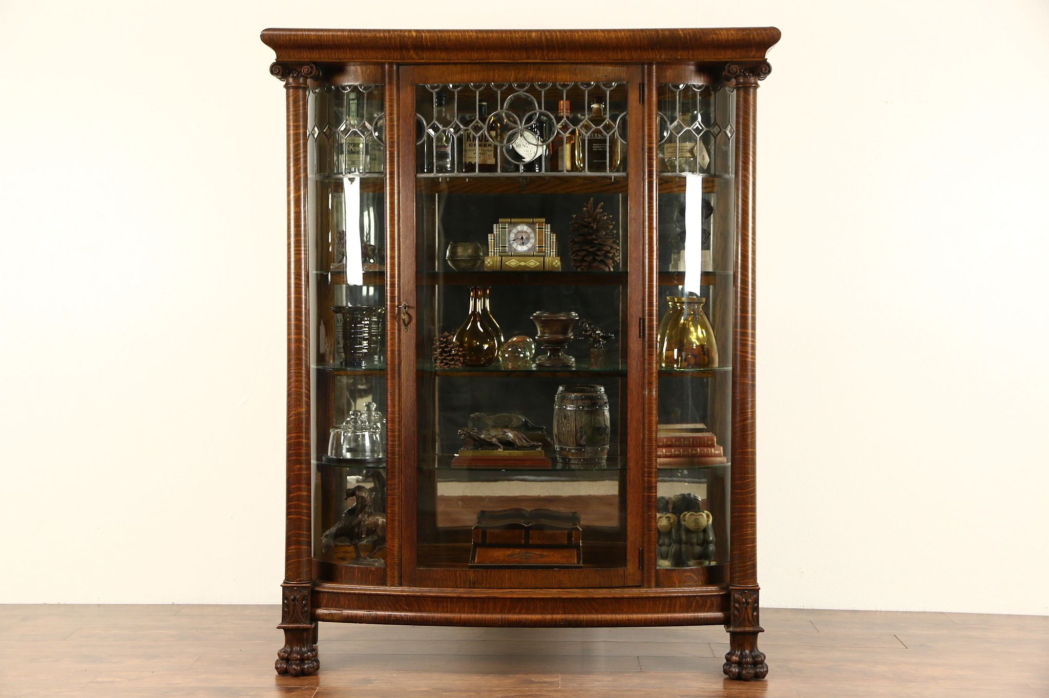 SOLD Curved Glass 1900 Antique Oak China Cabinet Curio