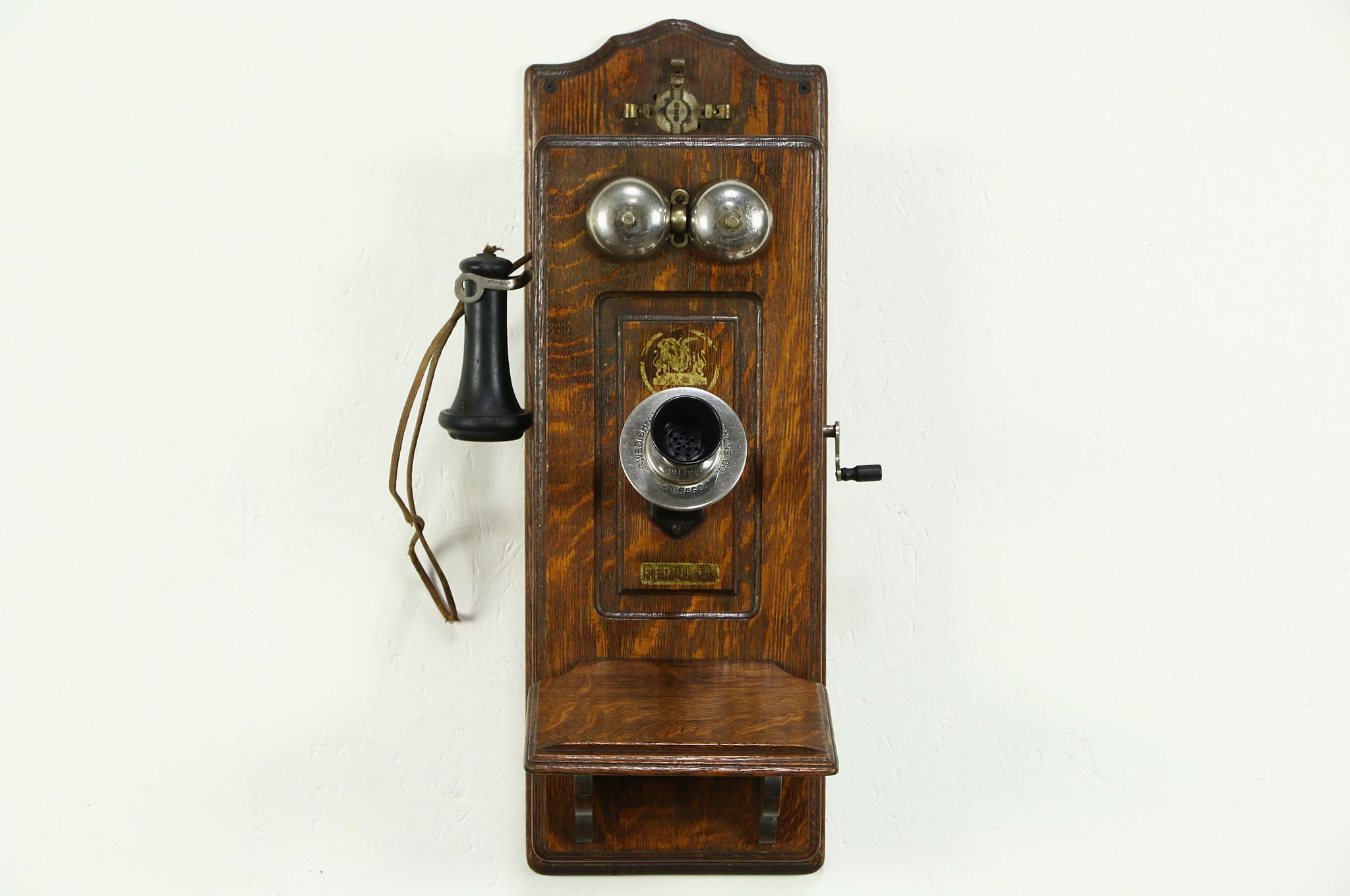 SOLD Swedish American Hercules Signed Telephone Oak