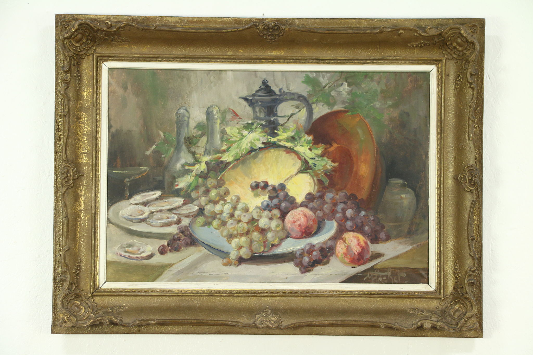 Oysters Amp Fruit Still Life Antique Oil Painting Carved