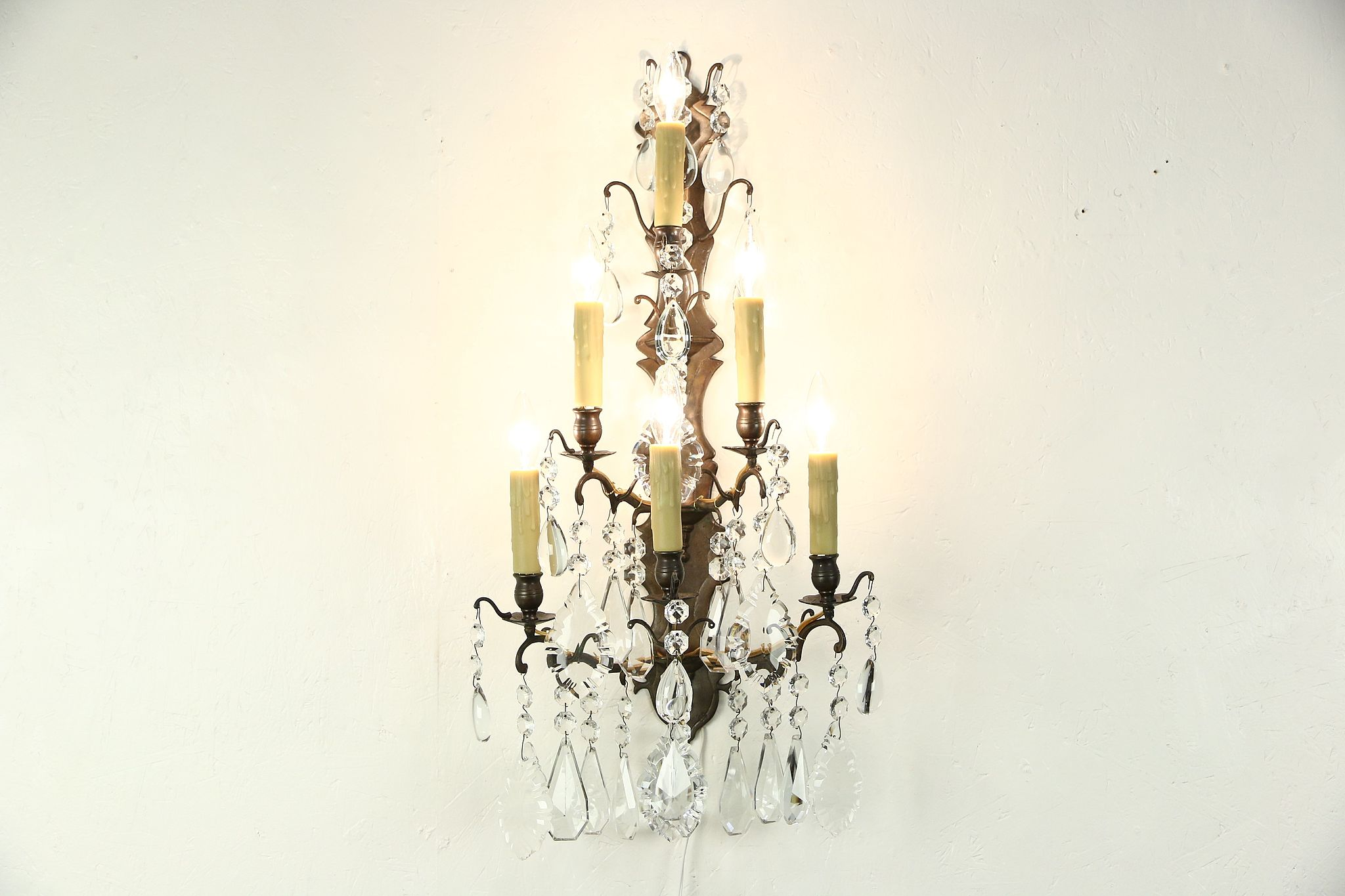 SOLD - Crystal & Brass 6 Candle 1890's Antique Wall Sconce ... on Brass Wall Sconces Non Electric Lighting id=39041