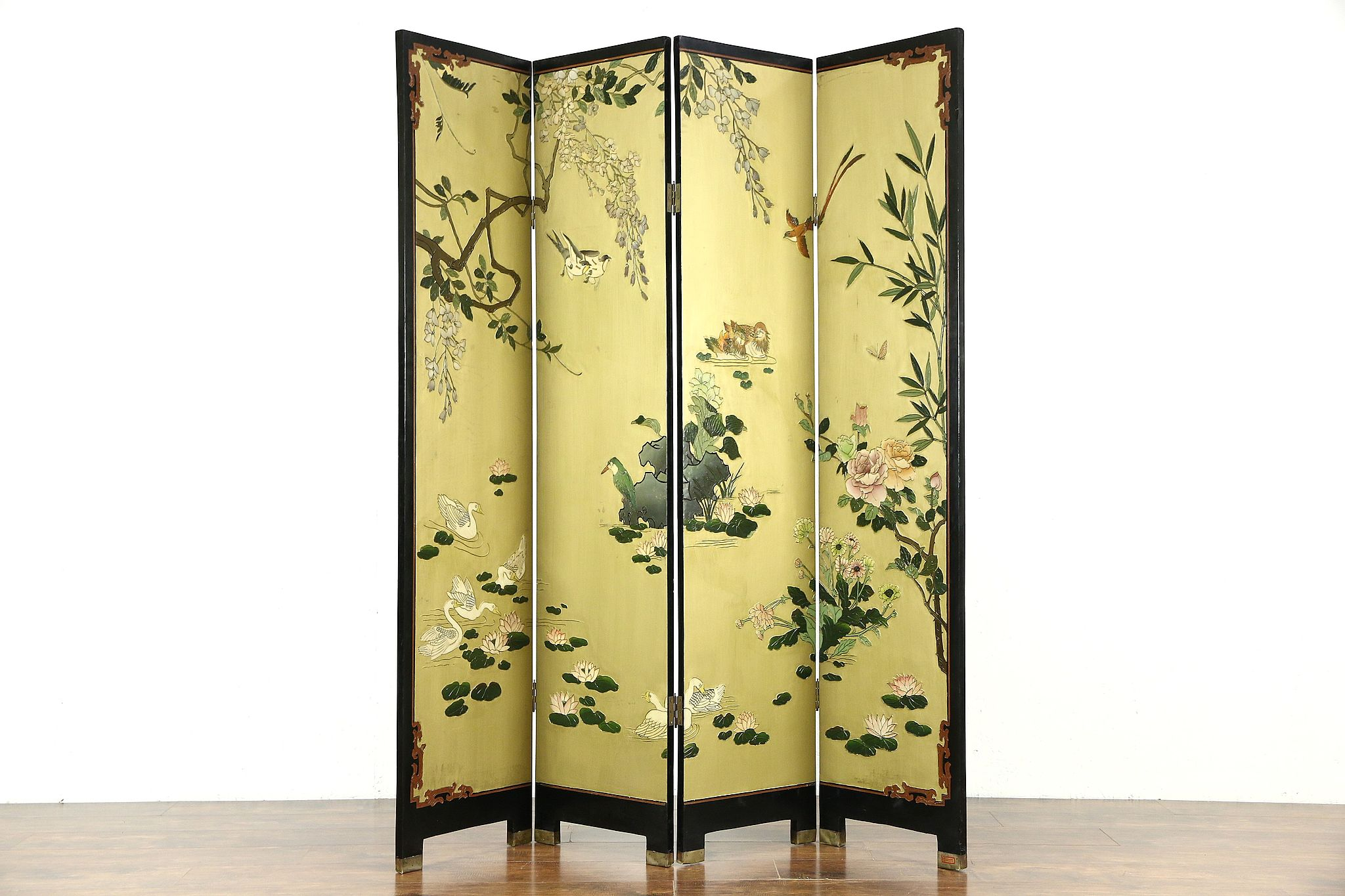 SOLD Coromandel Carved 4 Panel Chinese Screen Harp Gallery