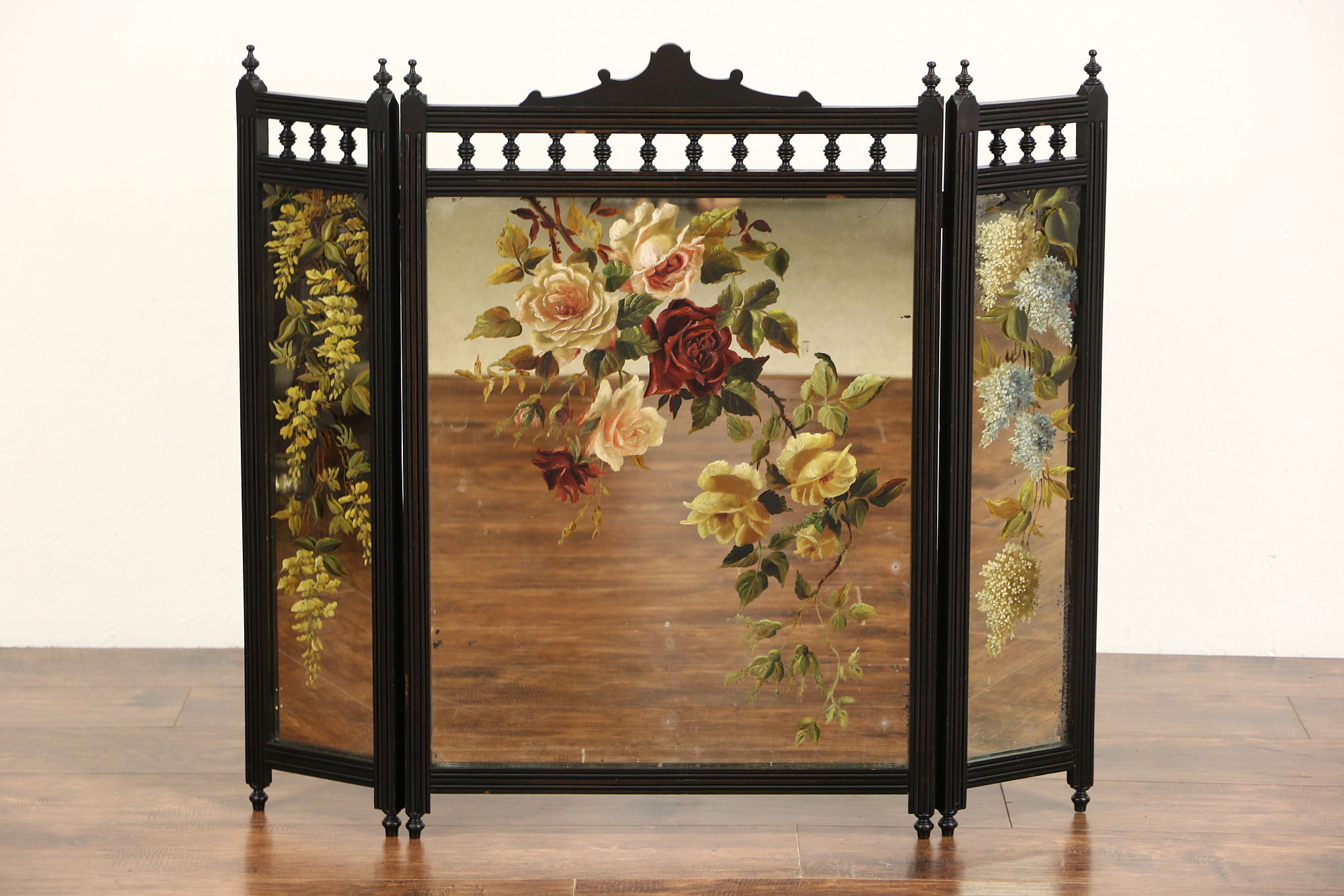 Sold Fireplace Screen Cherry Trifold Mirror 1880 S