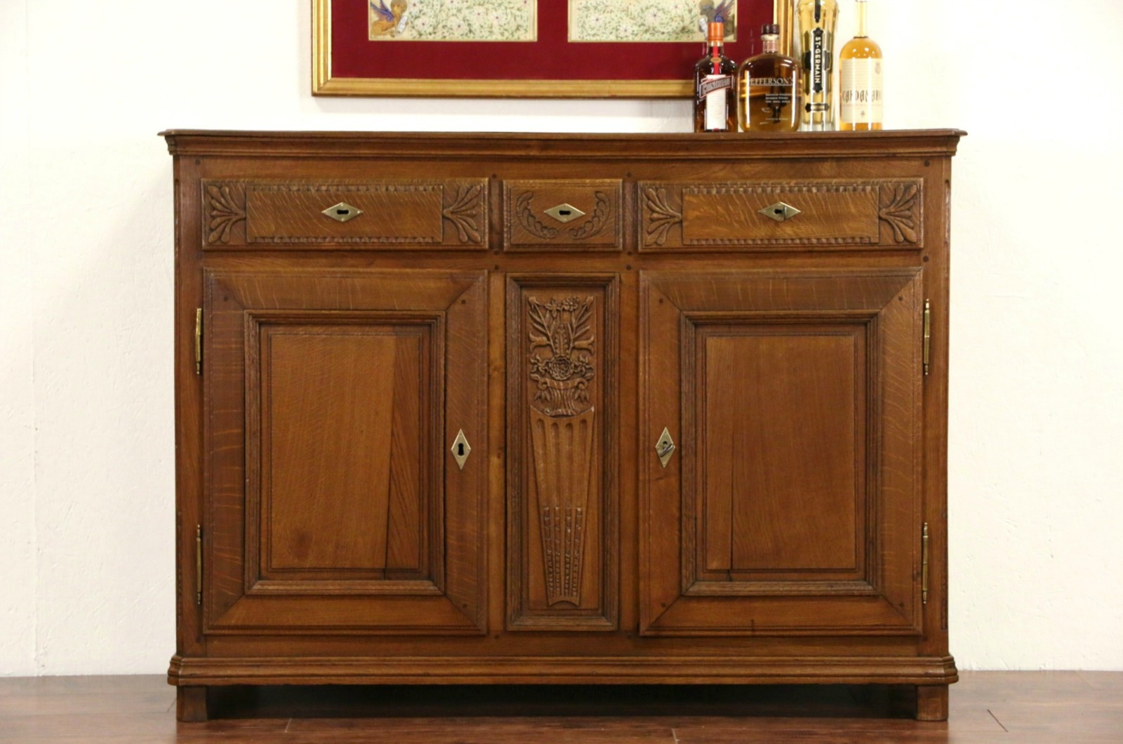 SOLD Country French 1820s Antique Oak Server Sideboard Or Buffet Harp Gallery