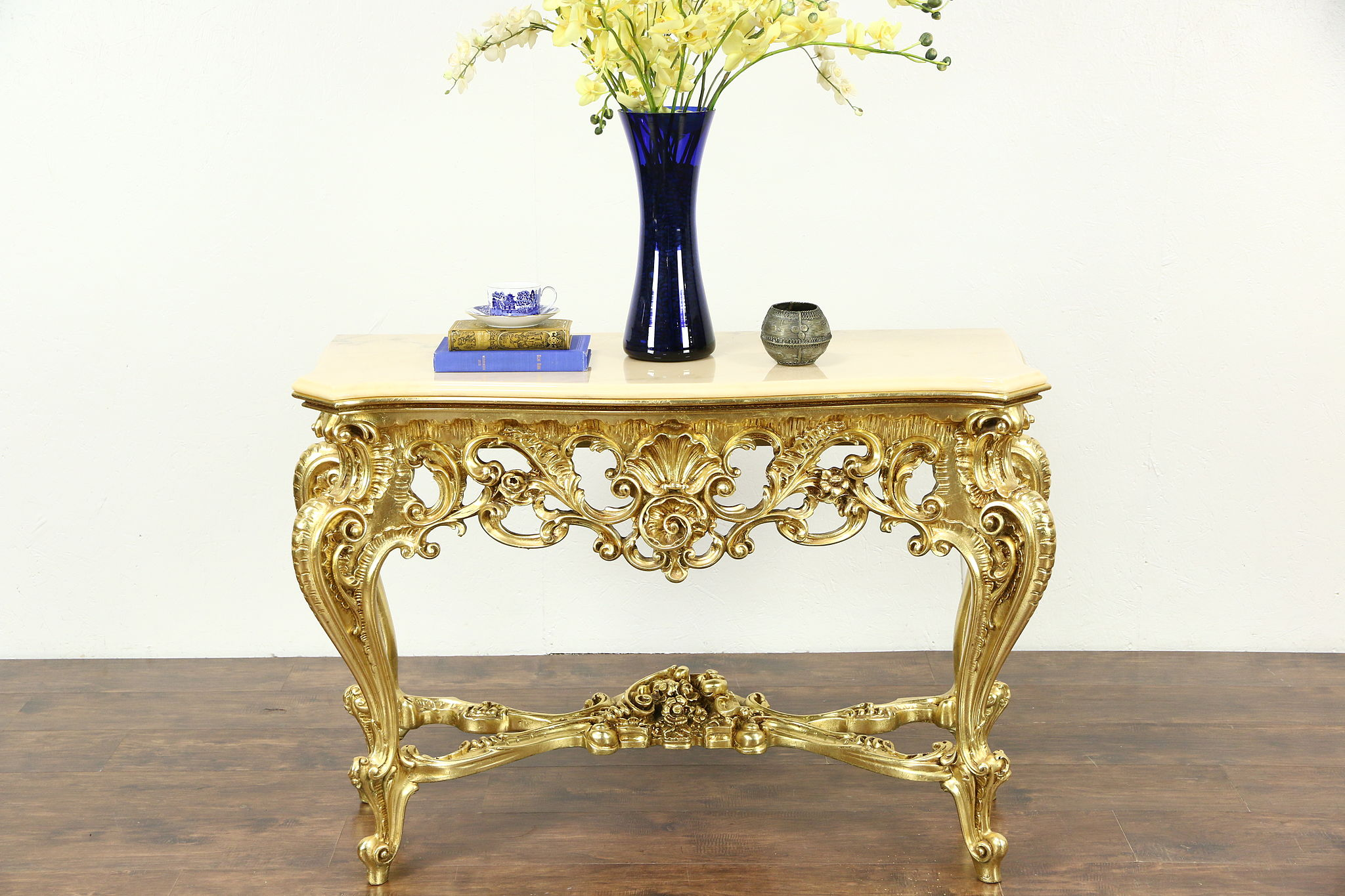 SOLD Italian Carved Hall Console Table Marble Top