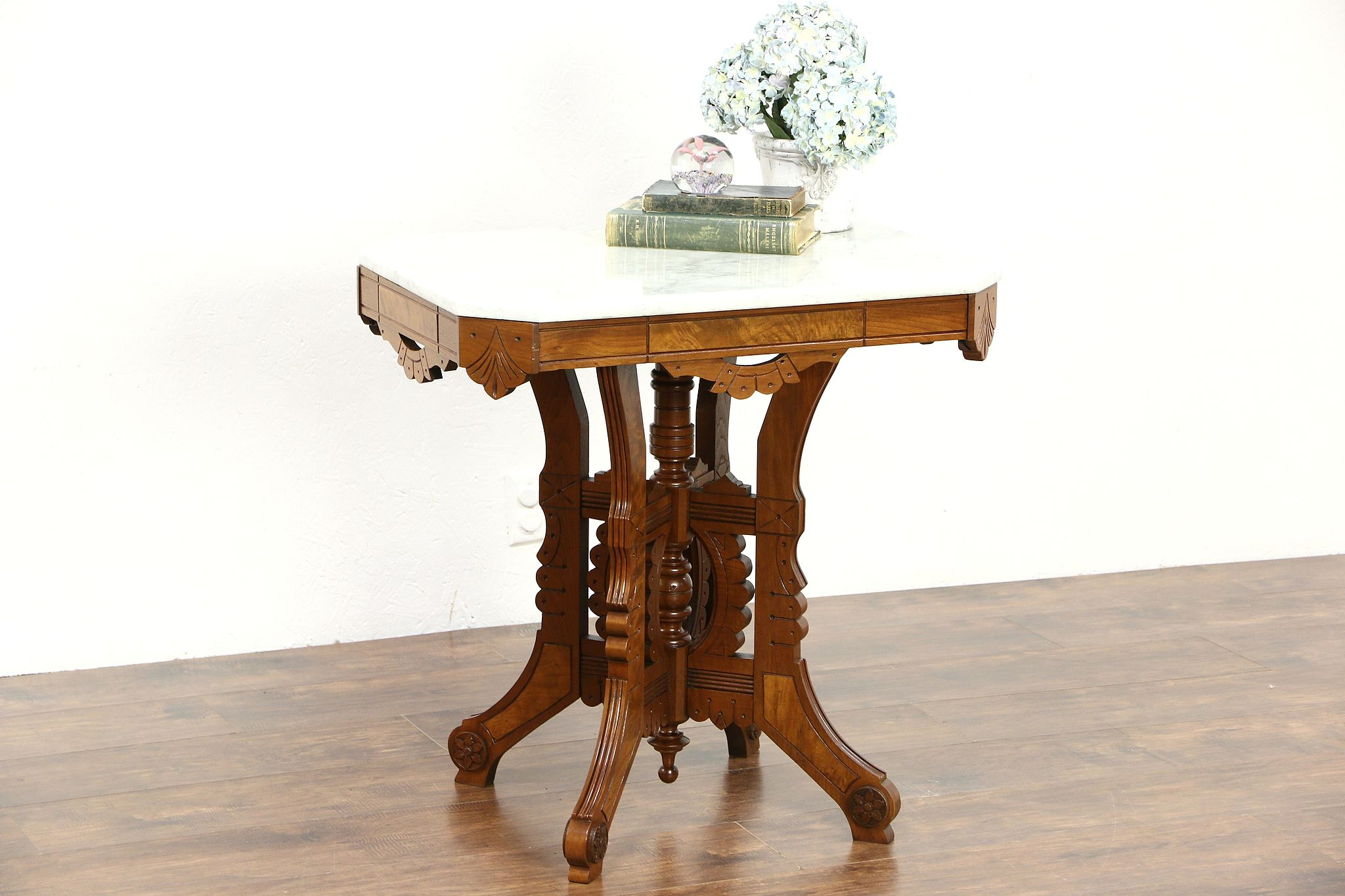 SOLD Victorian Eastlake 1880s Antique Marble Top Walnut Lamp Or Parlor Table Harp Gallery