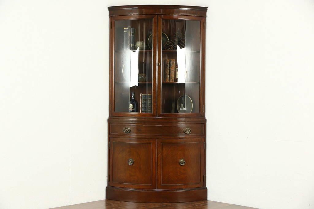 SOLD Corner Cabinet Curved Glass Traditional Vintage
