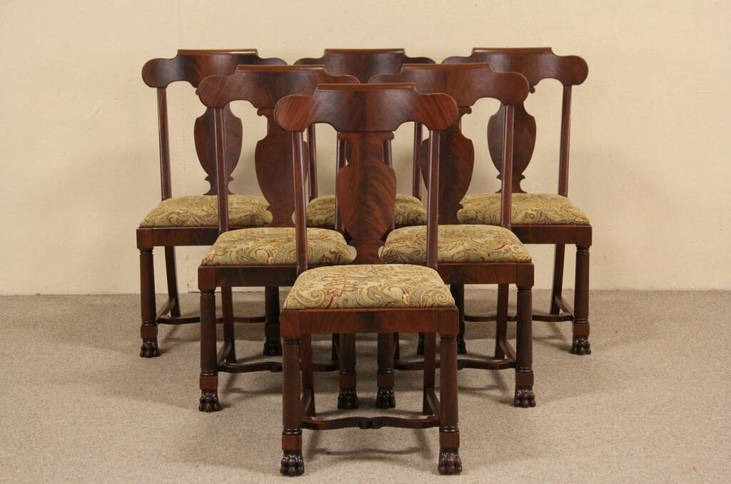 SOLD Set Of Six 1900 Antique Empire Mahogany Dining Chairs Paw Feet Harp Gallery Antique
