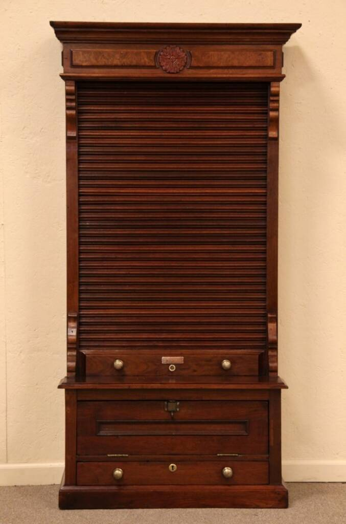 SOLD Victorian Rolltop Railroad Ticket Card Cabinet