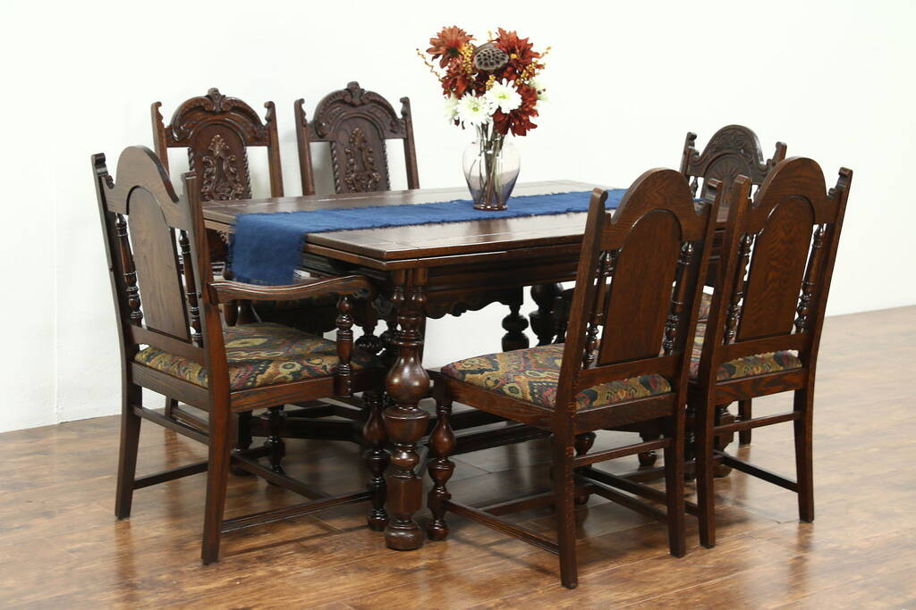Oak Carved English Tudor 1925 Dining Set Table Amp 6 Chairs Harp Gallery Antique Furniture