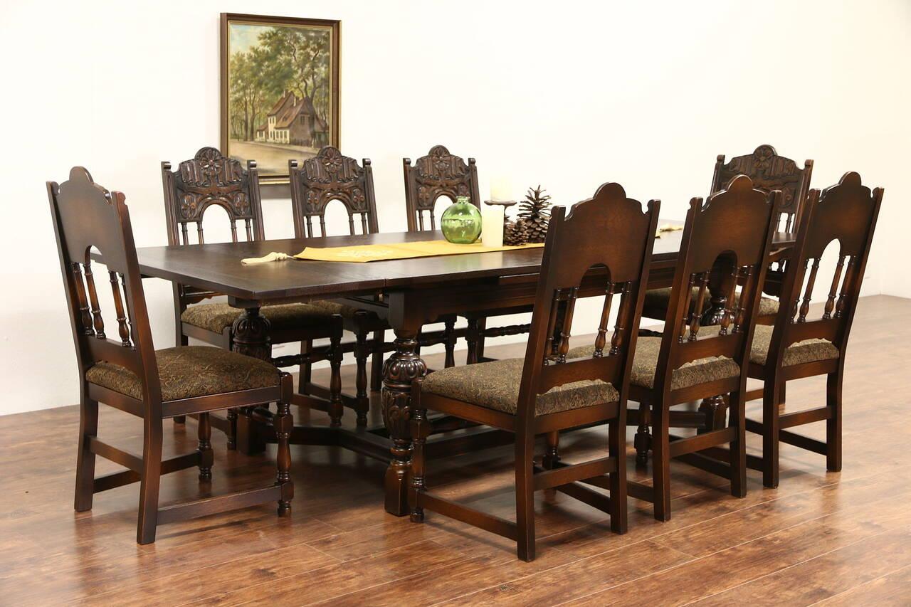 English Tudor Carved Oak 1925 Antique Dining Set Table 8