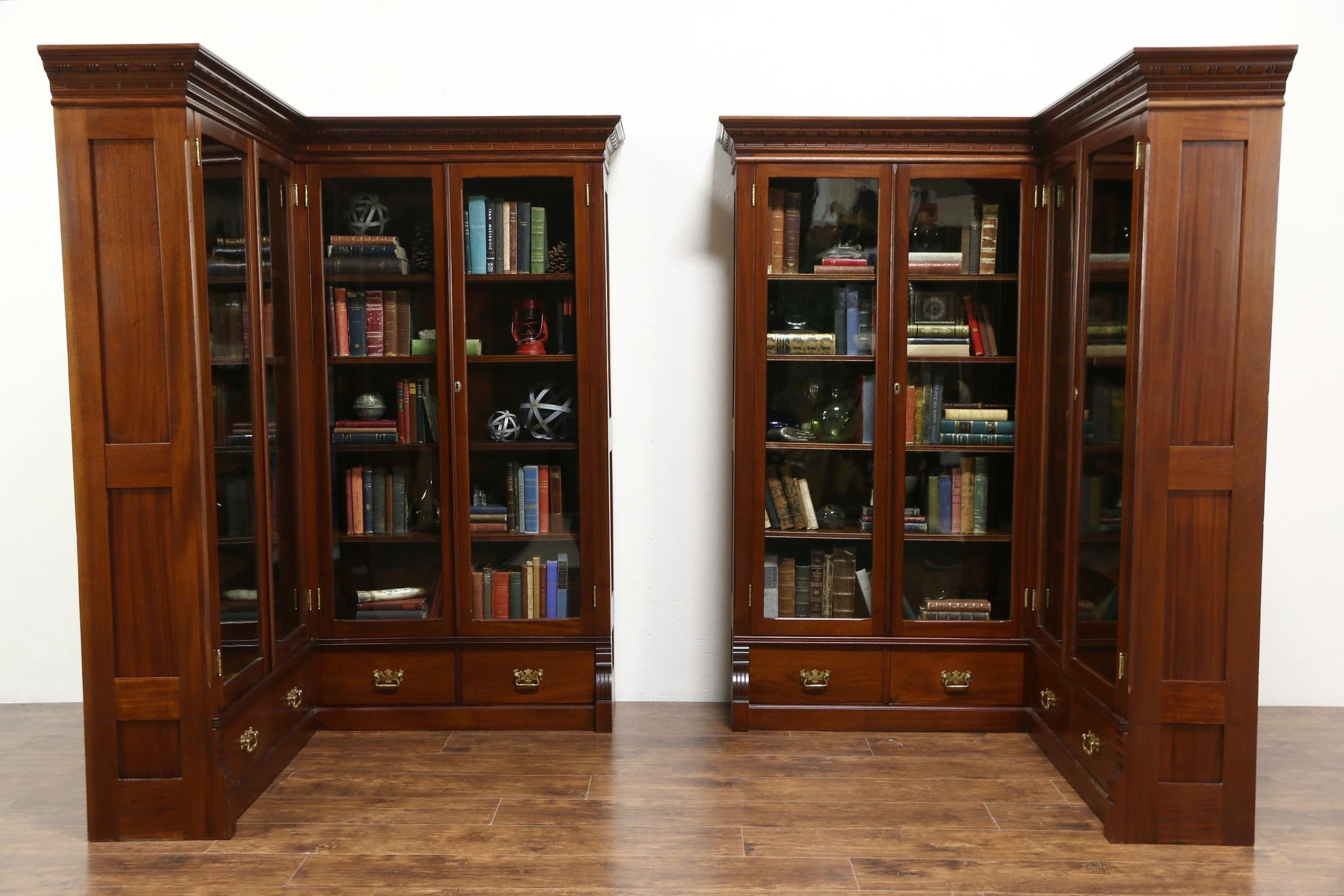 Sold Pair 1890 Antique Mahogany Library Corner Bookcases Glass Doors Disassemble Harp Gallery Antiques Furniture
