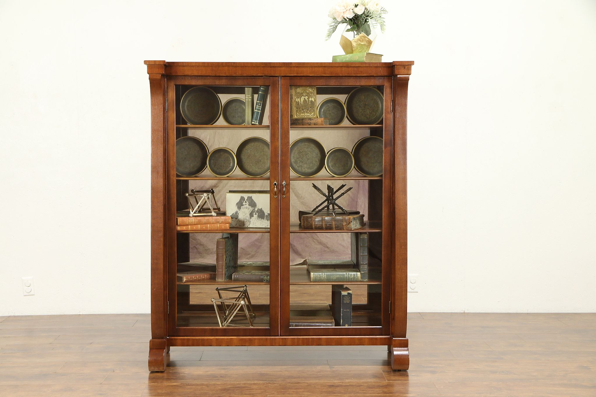Sold Empire Antique Mahogany Bookcase Or Curio Cabinet Glass Doors Mirrors 30921 Harp Gallery Antiques Furniture