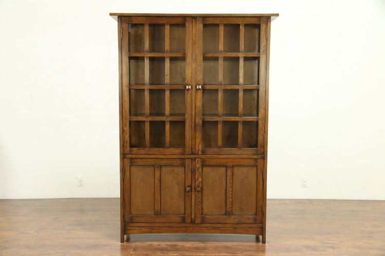 Sold Craftsman Style Oak Bookcase Or Kitchen Pantry Cabinet 30257 Harp Gallery Antiques Furniture