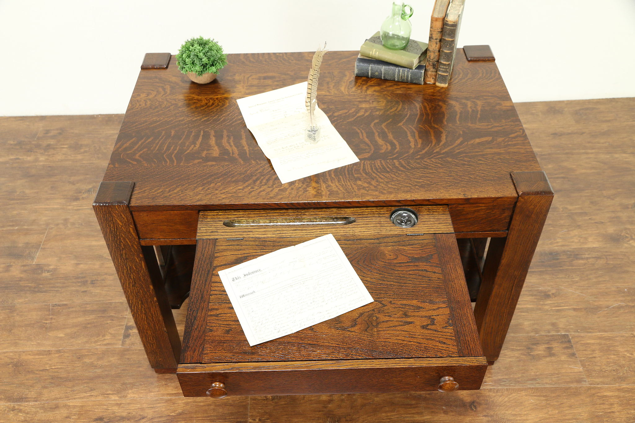 Sold Arts Crafts Mission Oak Antique Cadillac Desk Craftsman Library Table 31064 Harp Gallery Antiques Furniture