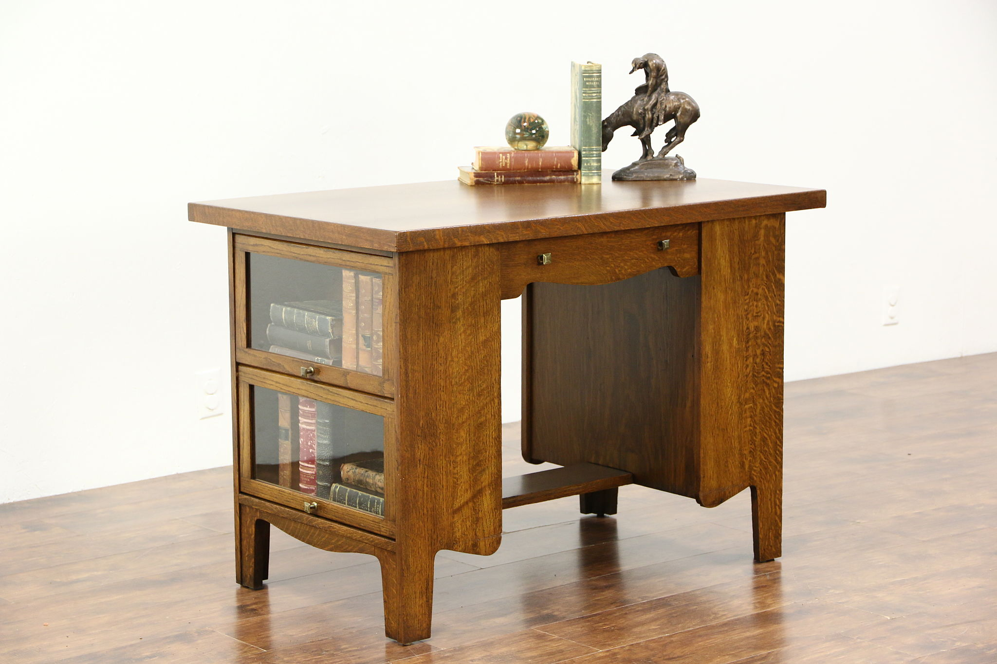 Sold Arts Crafts Mission Oak Antique Library Table Lawyer Bookcase Ends Kades Harp Gallery Antiques Furniture