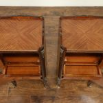 Pair Of Vintage Tulipwood End Tables Or Nightstands Leather Books 31861