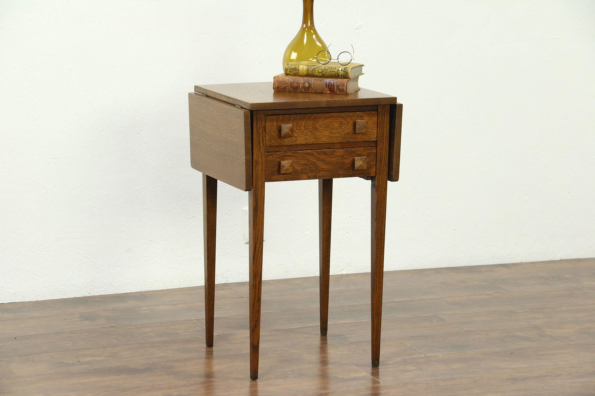 Arts Crafts Mission Oak Antique Craftsman Dropleaf Table Nightstand