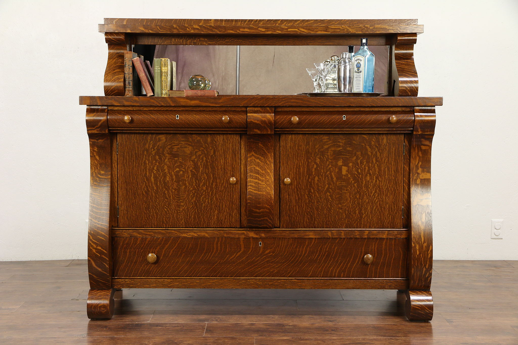 Sold Empire Oak Antique 1917 Sideboard Server Or Buffet Gallery Mirror 30586 Harp Gallery Antiques Furniture