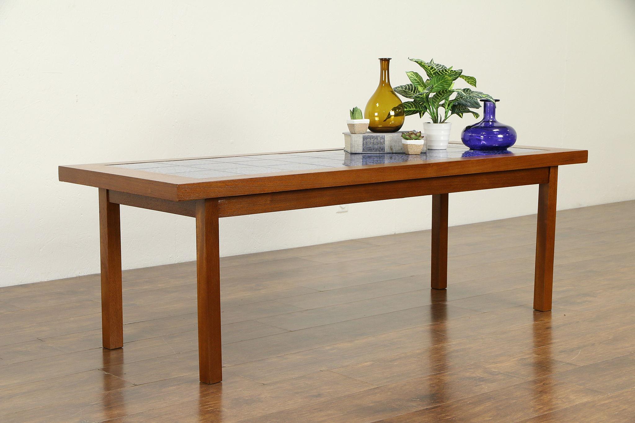 Sold Midcentury Modern 1960 Vintage Danish Teak Coffee Table Ceramic Tiles 32657 Harp Gallery Antiques Furniture