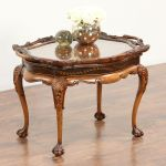 Sold Carved Fruitwood 1930 S Vintage Coffee Table Glass Tray Top Harp Gallery Antiques Furniture